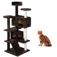 Ktaxon 52-in Cat Tree & Condo Scratching Post Tower, Brown