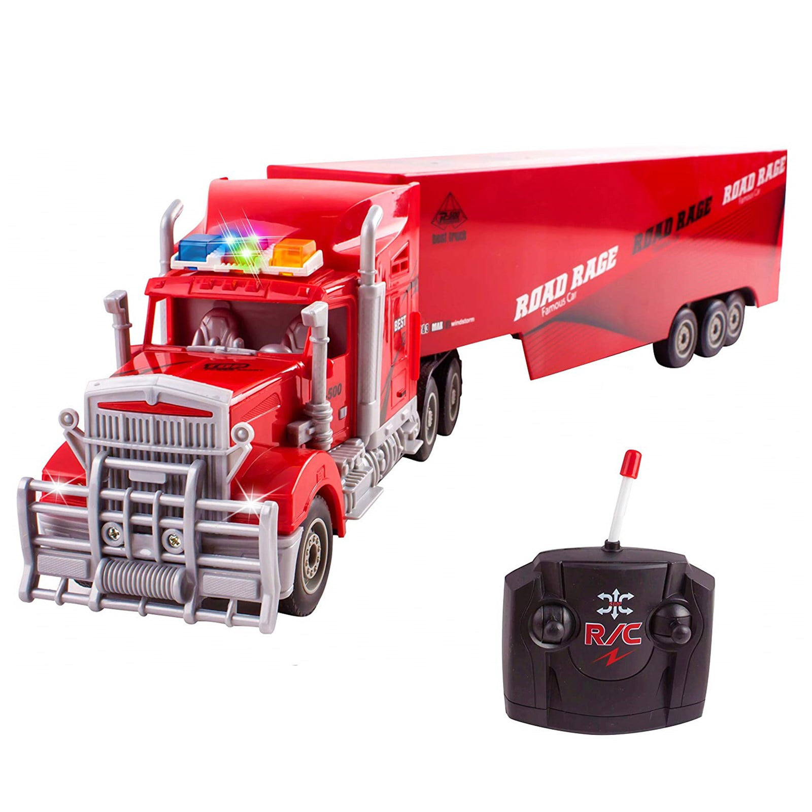 Vokodo Rc Semi Truck And Trailer 23 With Lights Electric Hauler Remote Control Kids Big Rig Toy Carrier Van Transport Vehicle Ready To Run Semi Truck Cargo Car Great Gift For Children Boys