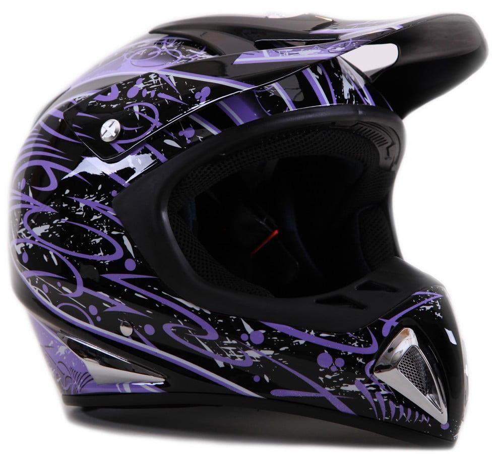 Typhoon Purple Splatter Motocross Helmet Size M