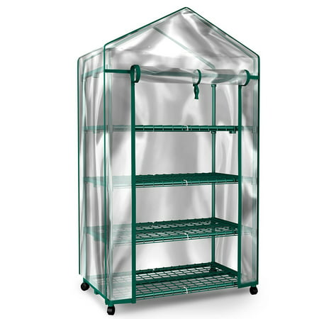 Mini Greenhouse-4-Tier Indoor Outdoor Sturdy Portable Shelves-Grow Plants, Seedlings, Herbs, or Flowers In Any Season-Gardening Rack by