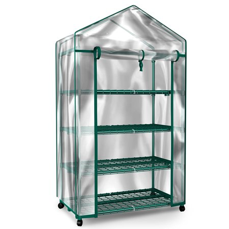 Mini Greenhouse-4-Tier Indoor Outdoor Sturdy Portable Shelves-Grow Plants, Seedlings, Herbs, or Flowers In Any Season-Gardening Rack by Home-Complete