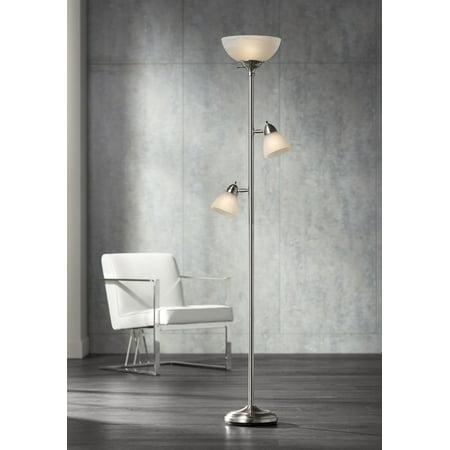 Ellery Brushed Steel Tree Torchiere 3 Light Floor Lamp