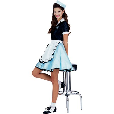 Car Hop Girl Adult Halloween Costume - One Size - Girls Plus Size Halloween Costumes