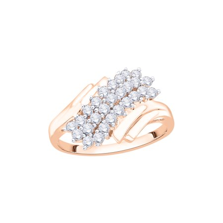 Diamond Cluster Fashion Ring in 14K Rose Gold (1/2 cttw) (I-Color, SI3/I1-Clarity) (Size-9)