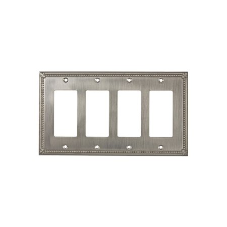 Rok Hardware Traditional Decora Rocker GFCI Switch Plate 4 Gang Brushed Nickel (4 Gang Wall Plate Gfci)