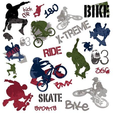 Extreme SPORTS wall stickers skateboard BMX bike 25 decals room decor