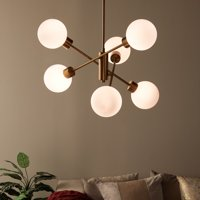 MoDRN Glam Antique Brass 6 Light Ceiling Chandelier