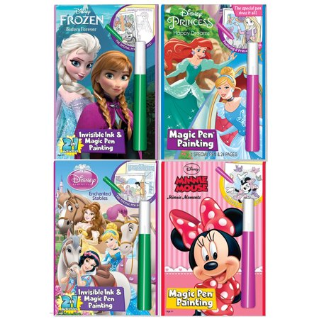 Disney's Characters Magic Pen Painting Activity Books, Set for Girls. Includes: Sisters Forever Frozen, Princess Happily Ever After and Enchanted Stable, Minnie Moments coloring books. - Printable Disney Princess Halloween Coloring Pages