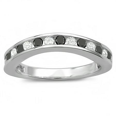 0.75 Carat (ctw) 18k White Gold Round White And Black Diamond Curved Guard Matching Bridal Wedding Band (Black Gold And White Wedding)