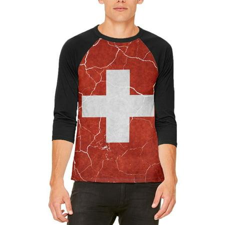 Distressed Swiss Flag Mens Raglan T - Swiss Flag T-shirt