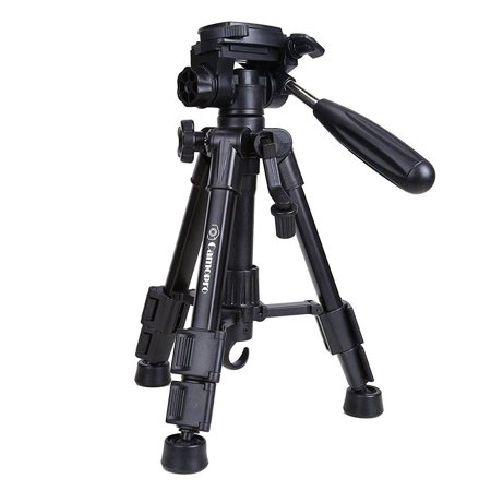 mini tripod - camopro portable desktop mini tabletop tripod for slr, dslr camera, phones, spotting scope and camcorder with 3-way head, quick release plate and carrying