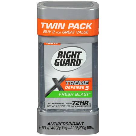 Right Guard Xtreme Defense 5 Antiperspirant Deodorant Gel, Fresh Blast, 4 Ounce (Twin Pack)