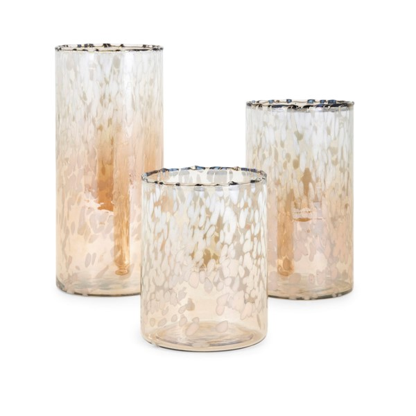 """Set of 3 White and Amber Hurricanes Candle Holders 11.5"""""""