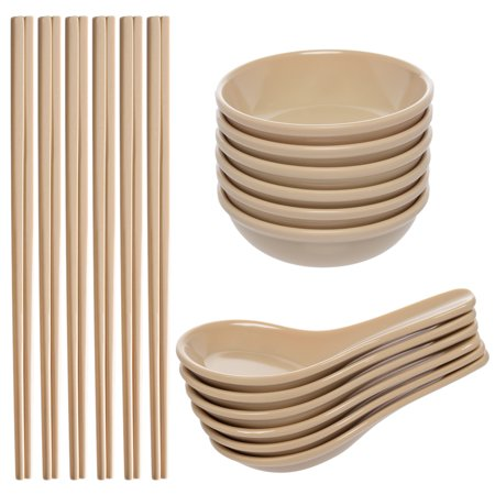 Zak! (24 Piece) Asian Reusable BPA-Free Plastic Utensils Set With Chopsticks, Soup Spoons For Wonton Pho & Ramen, & Small Bowl Dishes For Dipping Sauces Like Soy & (24 Inverted Bowl)