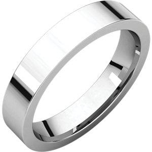 Jewels By Lux 18K Palladium White 4mm Flat Comfort Fit Mens Wedding Ring Band Size 4.5 Palladium Engraved Ring