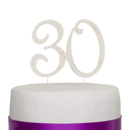 30th Birthday Party Ideas For Him (30 Cake Topper for 30th Birthday or Anniversary Silver Crystal Rhinestone Party Decoration)