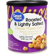 Great Value Roasted & Lightly Salted with Sea Salt Deluxe Mixed Nuts, 16 Oz.