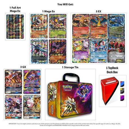 10 Jumbo Pokemon Cards in Collectors Chest Tin 1 Full Art Mega 1 Mega Ex 2 Gx and 6 Ex