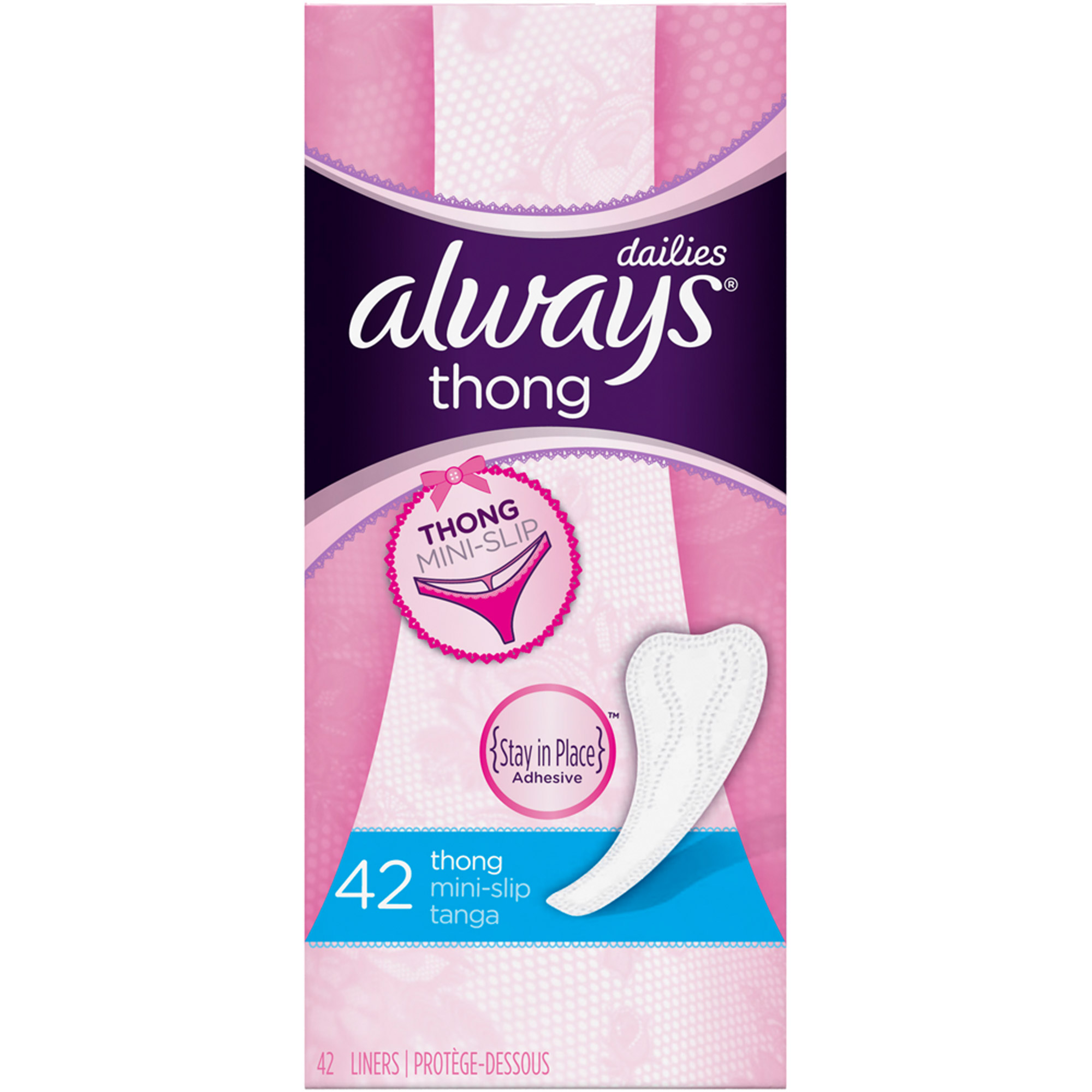 Always Thong Mini-Slip Dailies Liners, 42 count