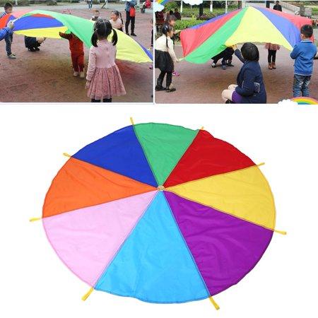 Yosoo Baby Rainbow Play Parachute Kids Play Rainbow Outdoor Teamwork Game Parachute Multicolor Toy 8 Handles 2m Diameter 20' Diameter Play Parachute