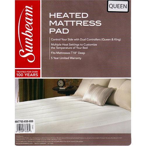 sunbeam quilted striped heated electric mattress pad twin full queen king cking walmartcom - Heated Mattress Pad Queen