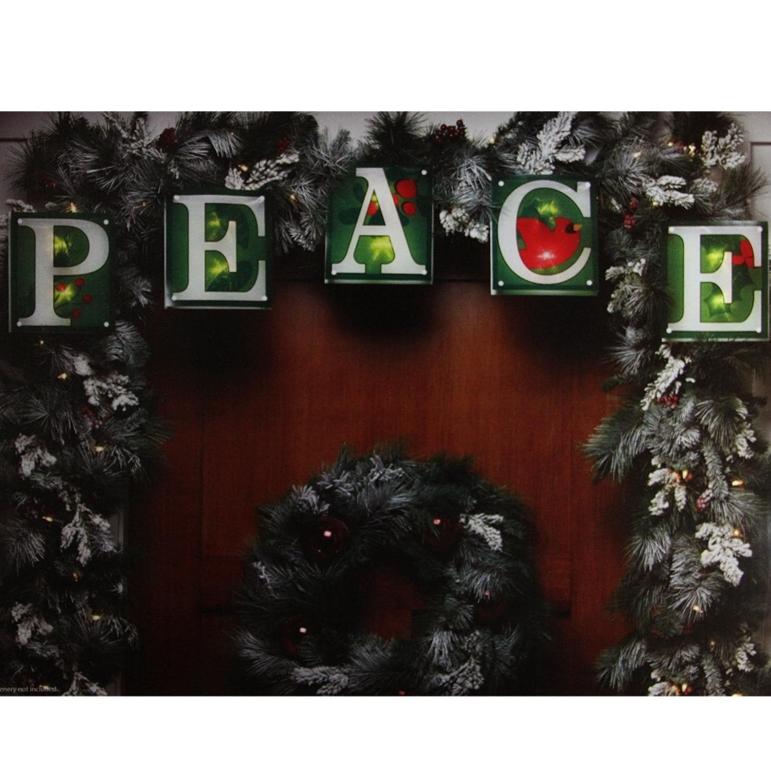 "Impact 7' Green Shimmering ""PEACE"" Christmas Light Garland with 10 Clear Mini Lights - White Wire"