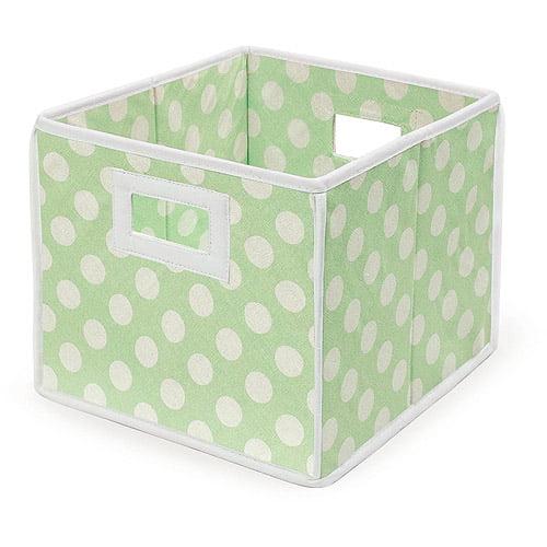Badger Basket - Folding Basket, Sage Polka Dot