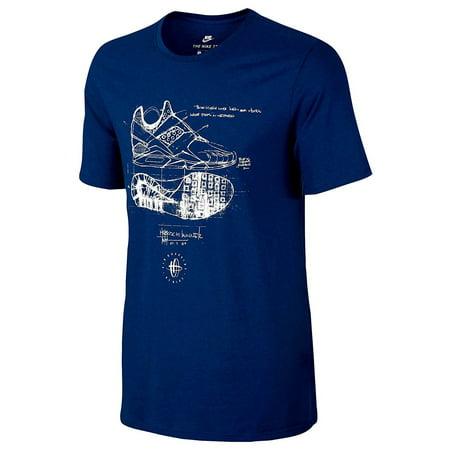 Nike Men's Tri-Blend Huarache Sketch T-Shirt Navy Blue