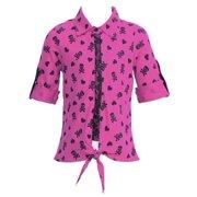 Little Girls Fuchsia Crane Pattern Rolled Up Sleeve Knot Shirt 4