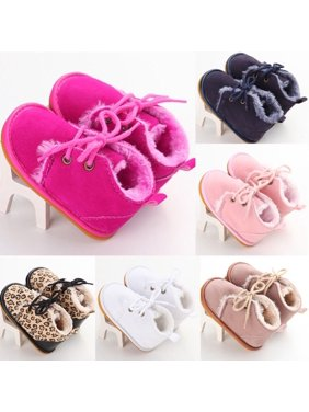 0-18M Newborn Baby Boy Girl Infants Leopard Warm Boots Shoes Fur Wool Booties