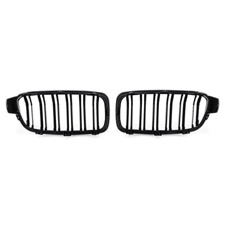 Pair Front Bumper Grill Grille Carbon Fiber Dual Slat For BMW 3 Series F30 F31 2012-2018