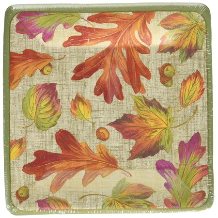 10970Sp Linen Leaves Square Salad Dessert Plates  Orange   Pack Of 8   Easy Size Birthday Conversations Orange Marine Winston Jaipur Michael    By Entertaining With Caspari