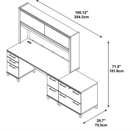 Bush Enterprise 72W Double Pedestal Desk Office Suite in Mocha Cherry - image 4 de 7