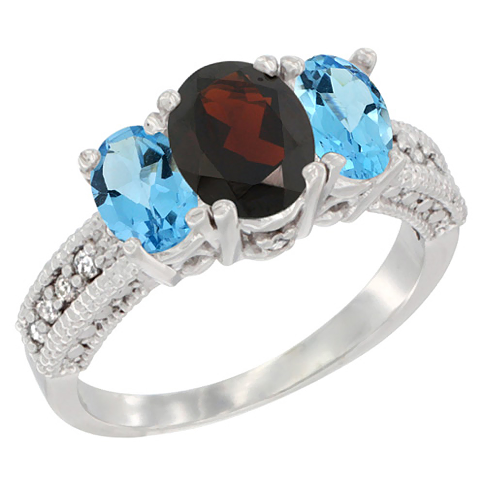 10K White Gold Diamond Natural Garnet Ring Oval 3-stone with Swiss Blue Topaz, sizes 5 10 by WorldJewels