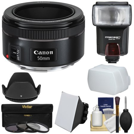 Canon EF 50mm f/1.8 STM Lens + Flash & Diffusers + 3 Filters + Hood Kit for EOS 6D, 70D, 7D, 5DS, 5D, Rebel T3, T3i, T5, T5i, T6i, T6s,