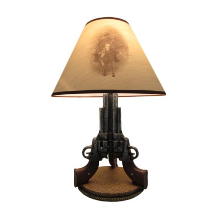 Old West Triple Six Shooter Revolver Table Lamp