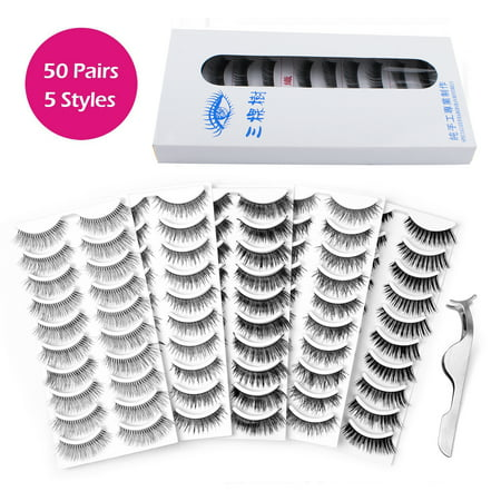 100Pcs Fake Eyelashes Kit, 5 Styles Lashes False Eye Lashes with Curler Eyelash Tweezers, Reusable False Eyelashes, Seconds to Use Glue Ultra Thin Fake Lashes for Ladies And