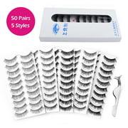 100Pcs Fake Eyelashes Kit, 5 Styles Lashes False Eye Lashes with Curler Eyelash Tweezers, Reusable False Eyelashes, Seconds to Use Glue Ultra Thin Fake Lashes for Ladies And Women