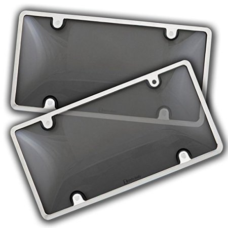Zento Deals 2 Pack -Durable All Weather Silver License Plate Shield – Unbreakable Smoke Bubble-Tinted Black Cover-Fits All Standard 6x12 Inches Novelty/License Plates