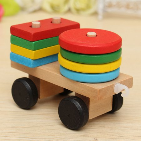 Wooden Building Blocks Stacking Train Peg Puzzles Games Toddlers Educational Baby Kid Children Boy Girl Development Toys Gift - image 7 de 12