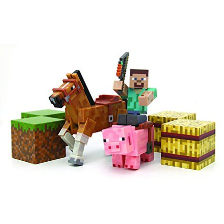 Minecraft Figure Set Overworld Saddle Pack (Steve w/whip Chestnut Horse , Pig w/saddle , 2 x hay bale , 2 x grass blocks)](Minecraft Steve)