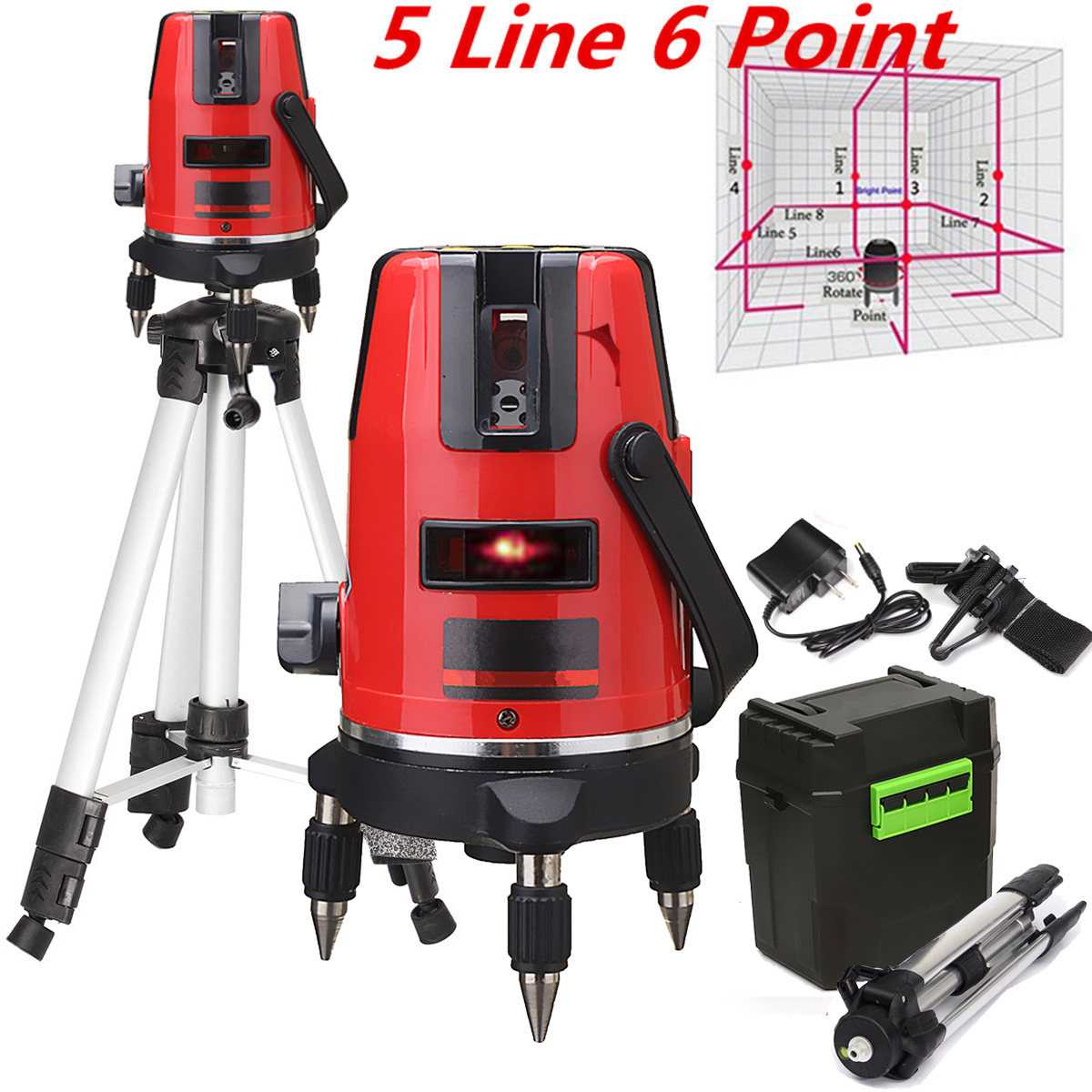 360° Rotary Professional Automatic Self Leveling 5 Line 6 Point 4V1H Red Laser Level Meter Measure With Tripod