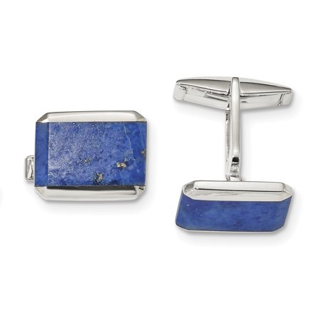 - 925 Sterling Silver Rectangle Lapis Cuff Links Mens Cufflinks Link Dad Mens Gift Set