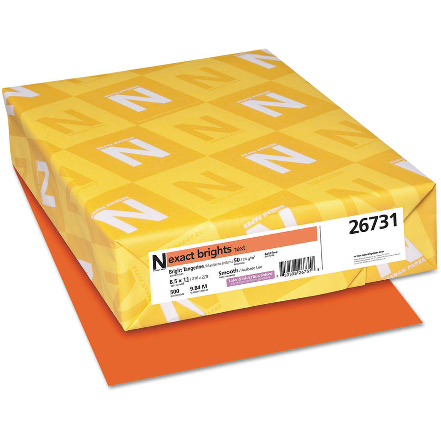 "Neenah Paper Exact Brights Paper, 8-1/2"" x 11"", Bright Tangerine, 50-Pound, 500 Sheets/Ream"