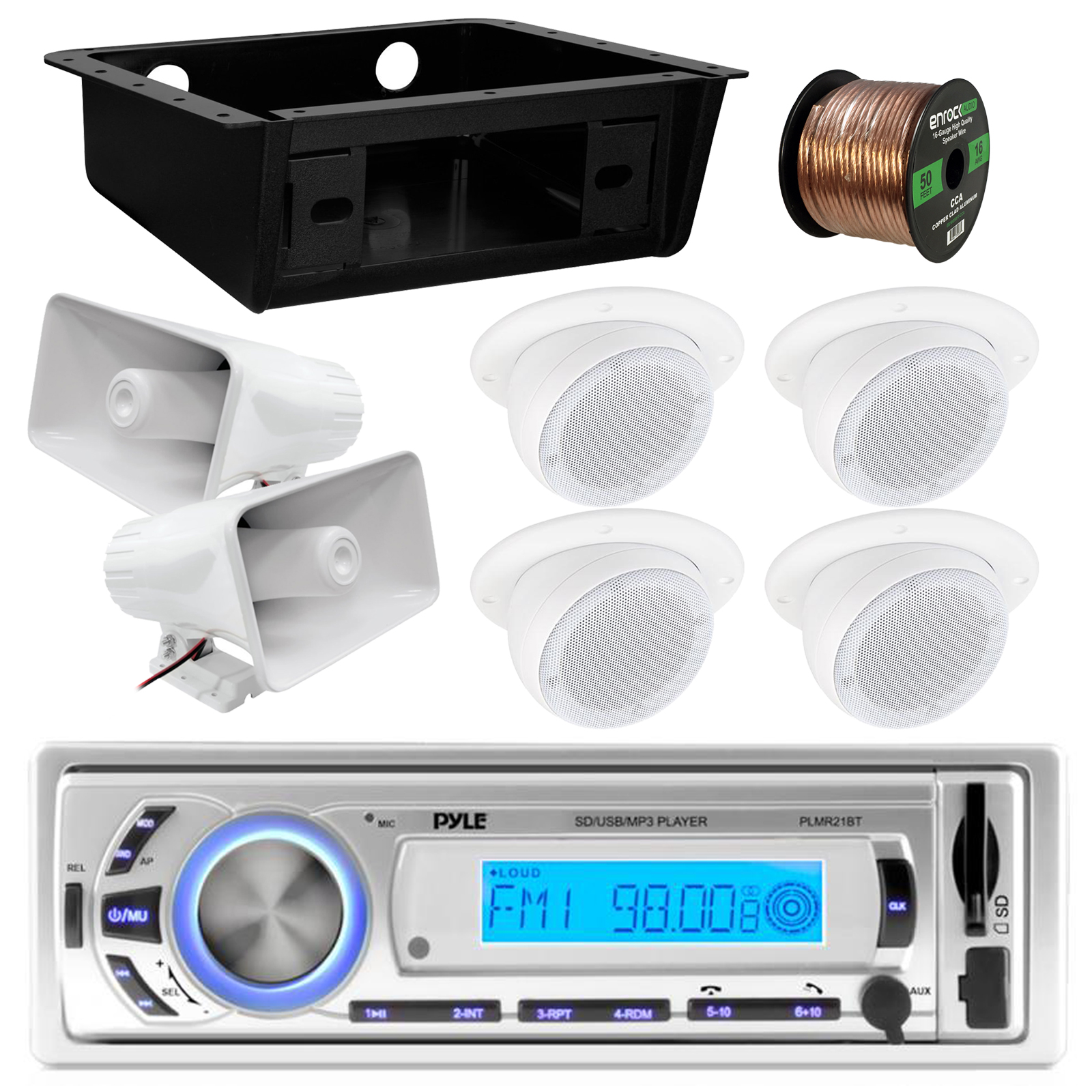 """Pyle PLMR21BT Marine Boat USB/SD/MP3 Bluetooth Stereo Receiver Bundle Combo With 4x 3"""" White Ceiling/Wall Mount RV Home Speaker + 2x 8'' PA Horn Speaker + Underdash DIN Kit + Enrock 50Ft Speaker Wire"""