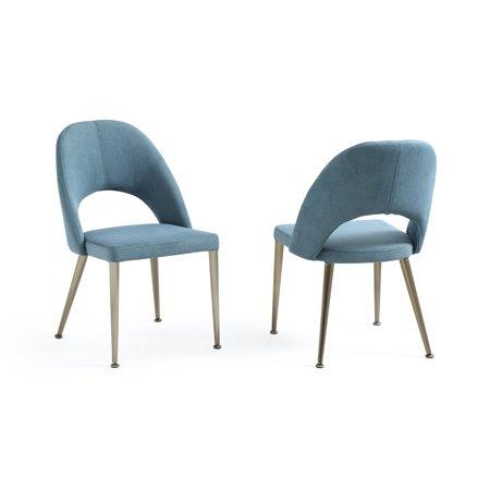 Modrest Gloria Modern Blue & Antique Brass Dining Chair (Set of 2)- - Modrest Gloria Modern Blue & Antique Brass Dining Chair (Set Of