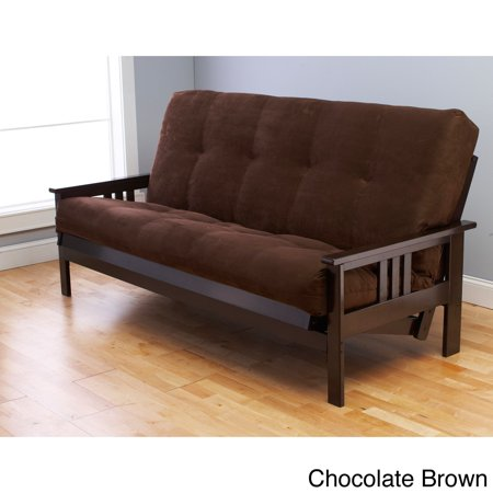 Somette Monterey Hardwood Suede Queen Size Futon Sofa Bed Chocolate Brown
