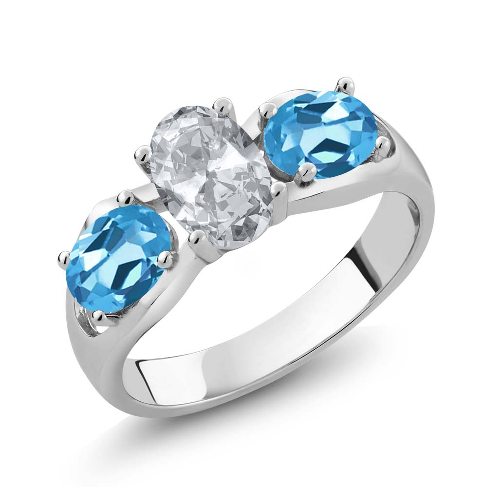 1.95 Ct Oval White Topaz Swiss Blue Topaz 18K White Gold Ring