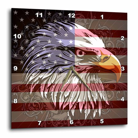 3dRose Ornate Patriotic Bald Eagle and USA American Flag Pride Great for Fourth Of July Independence Day, Wall Clock, 13 by 13-inch