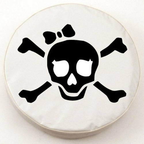 Tire Cover by Holland Bar Stool - Pirate Girl, Black on White - 29.75'' x 8''